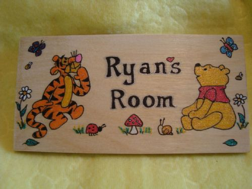 Tigger & Winnie The Pooh Bear  Personalised Room Flat Plaque Sign Wooden Bedroom Playroom Handmade Each One Unique OOAK